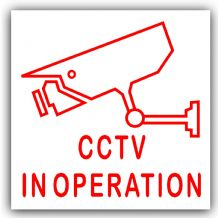1 x CCTV In Operation-87mmx87mm-Red on White-Camera Security Stickers-Red on White-24hr Surveillance CCTV Self Adhesive Vinyl Signs